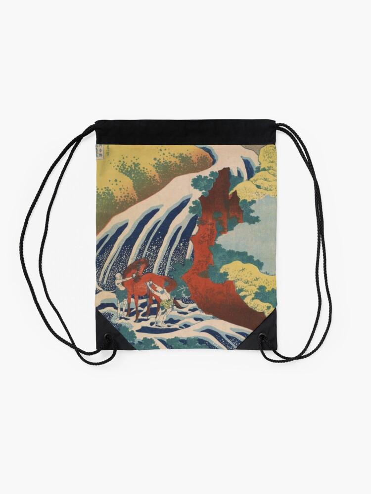 Alternate view of Yoshino Waterfalls Where Yoshitsune Washed his Horse by Katsushika Hokusai Drawstring Bag