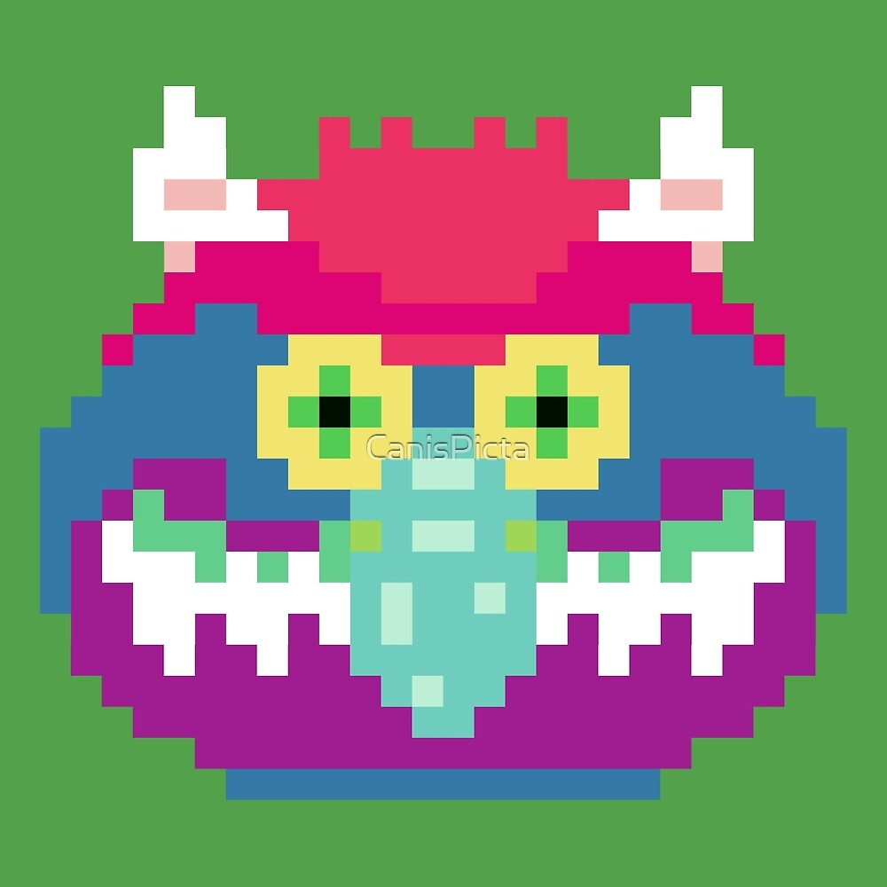 My Pet Monster in Green - 8 bit, Geometric, Block, Square, Gray, Purple, Pink, Hot, Teal, Mint, Vintage, Retro, Inspired, 80s, Baby, Blue, Yellow, Coral by CanisPicta
