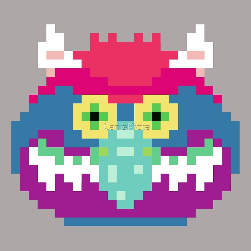 My Pet Monster in Grey - 8 bit, Geometric, Block, Square, Gray, Purple, Pink, Hot, Teal, Mint, Green, Vintage, Retro, Inspired, 80s, Baby, Blue, Yellow, Coral by CanisPicta
