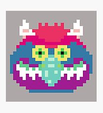 My Pet Monster in Grey - 8 bit, Geometric, Block, Square, Gray, Purple, Pink, Hot, Teal, Mint, Green, Vintage, Retro, Inspired, 80s, Baby, Blue, Yellow, Coral Photographic Print