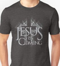 Jesus is Coming - Distressed Cross Throne Unisex T-Shirt
