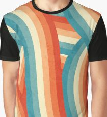 Red, Orange, Blue and Cream 70's Style Rainbow Stripes Graphic T-Shirt