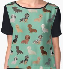 Dachshund dog breed pattern dapple merle black and tan coat colors Women's Chiffon Top