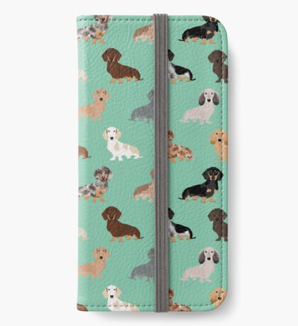 Dachshund dog breed pattern dapple merle black and tan coat colors iPhone Wallet