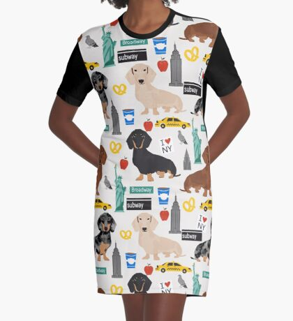 Dachshund dog breed NYC new york city pattern dapple merle black and tan coat colors Graphic T-Shirt Dress