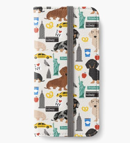 Dachshund dog breed NYC new york city pattern dapple merle black and tan coat colors iPhone Wallet