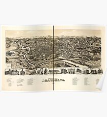 Panoramic Maps Perspective map of the city of Roanoke Va 1891 Poster