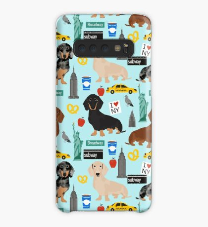 Dachshund dog breed NYC new york city pattern dapple merle black and tan coat colors Case/Skin for Samsung Galaxy