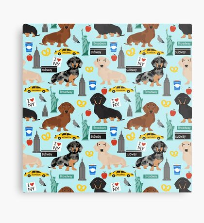 Dachshund dog breed NYC new york city pattern dapple merle black and tan coat colors Metal Print