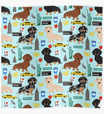 Dachshund dog breed NYC new york city pattern dapple merle black and tan coat colors Poster