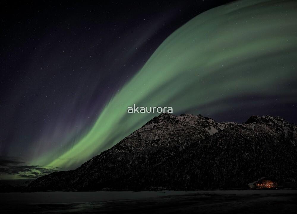 Aurora Over Pioneer Peak (3 image Panoramic) by akaurora