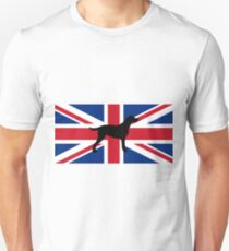 curly coated retriever silhouette on flag T-Shirt