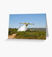firefighting Aircraft dropping fire retardant on a fire  Greeting Card