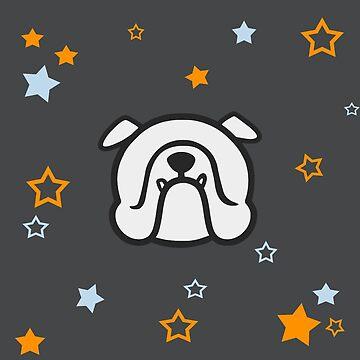 English Bulldog face & stars in gray by smooshfaceutd