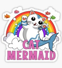 Cat Mermaid Funny Ocean Rainbow Cartoon Fish Fantasy Sticker