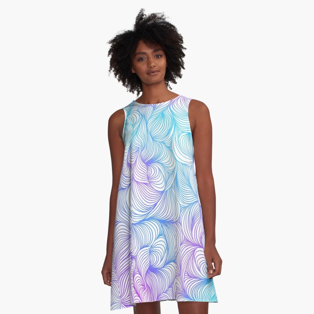 Blue and Purple Swirls A-Line Dress