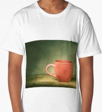 Red cup on old wooden table. Long T-Shirt