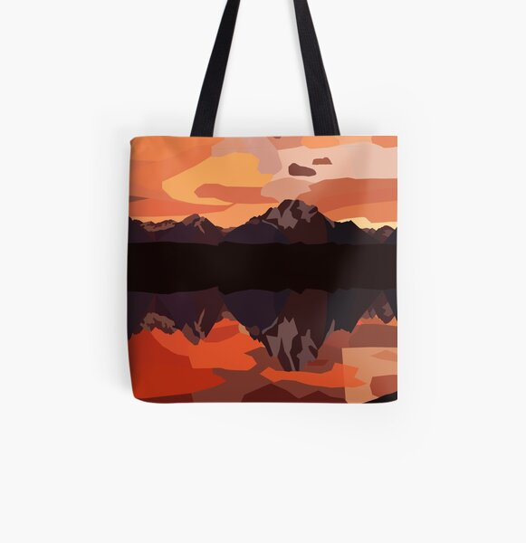 Mountains All Over Print Tote Bag
