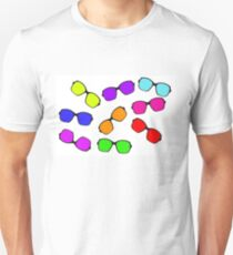 Set of multicolored glasses on white background. T-Shirt