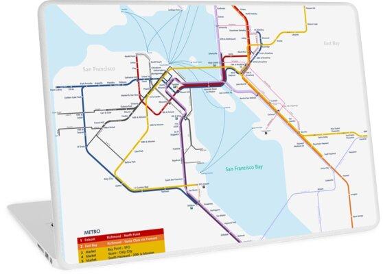 San Francisco Metro Map Laptop Skins By Superfunky Redbubble