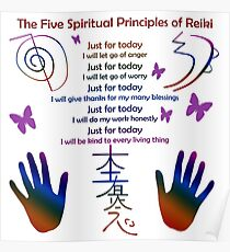 The 5 Principles of Reiki Poster