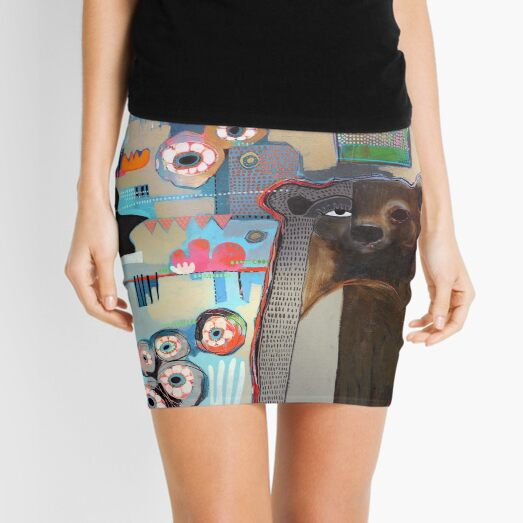 Bear in the Garden  Mini Skirt
