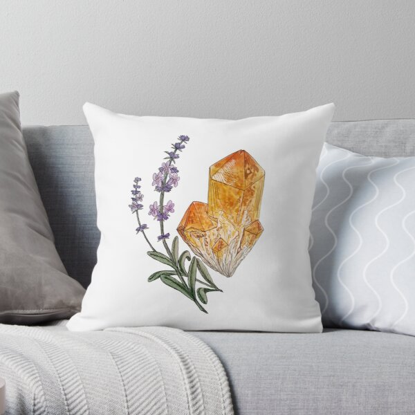 Lavender and Citrine Throw Pillow