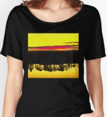 Sunset and the reflection of the trees in the river. Ultra-realistic photo-painting Women's Relaxed Fit T-Shirt