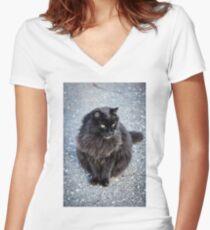 cat black  Women's Fitted V-Neck T-Shirt