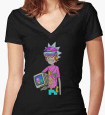 rickmorty vaporwave Women's Fitted V-Neck T-Shirt