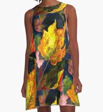 Watercolor Leaves A-Line Dress