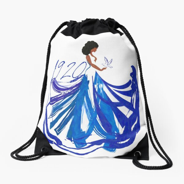 Lady in The Blue and The White by HeavenNezCree Drawstring Bag