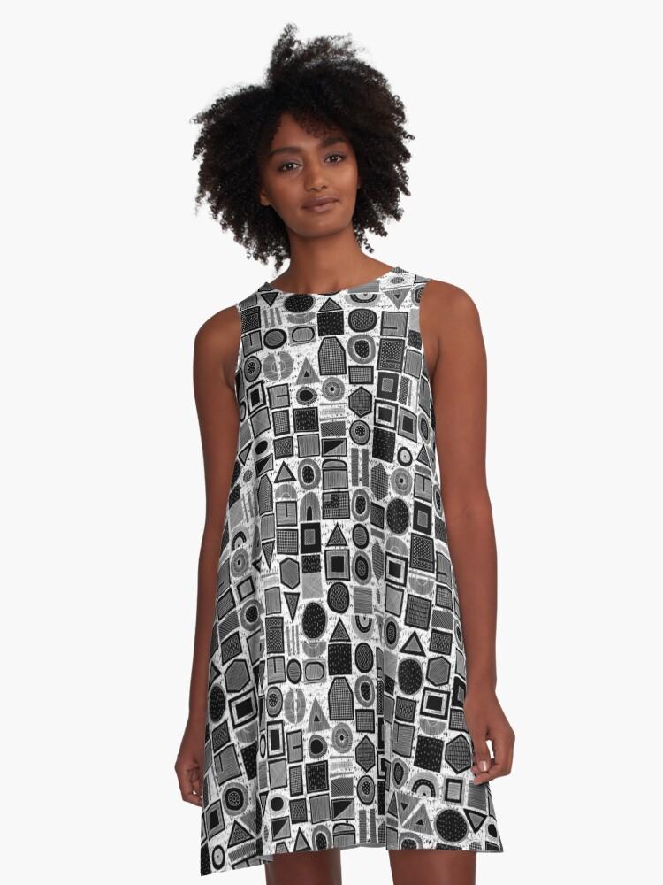 frisson memphis bw inverted A-Line Dress Front