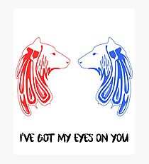 Wolf - I've Got My Eyes on You - the Red and the Blue Photographic Print