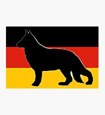 german shepherd black silhouette on flag Photographic Print