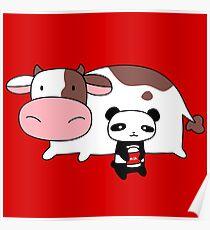 Póster Panda de vaca y leche