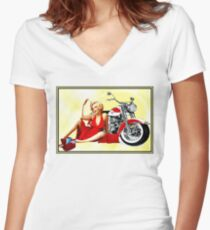 MARILYN MONROE : Motorcycle Print Women's Fitted V-Neck T-Shirt