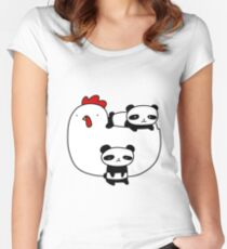 Chicken and Baby Pandas Women's Fitted Scoop T-Shirt