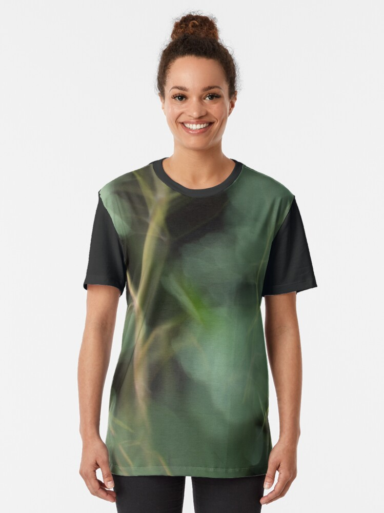 Alternate view of Fleur Blur-Abstract Eucalyptus Leaves on Black Background Graphic T-Shirt