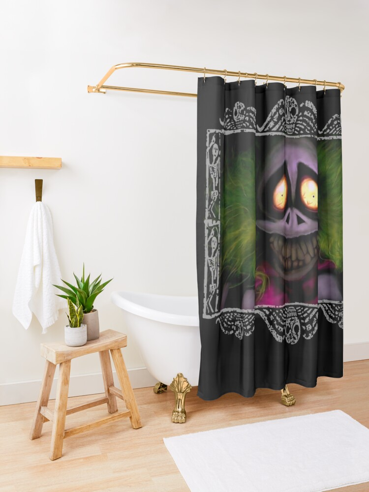 Alternate view of Beetlejuice with border Shower Curtain