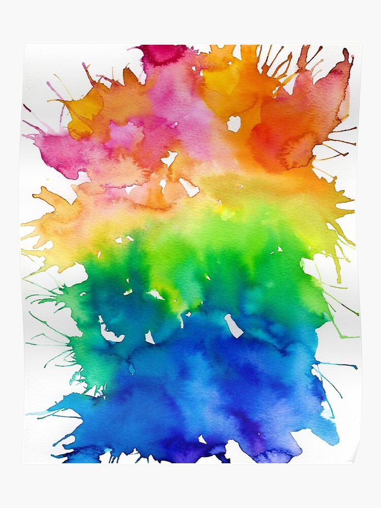 Rainbow Watercolor Paint Splash Art Poster