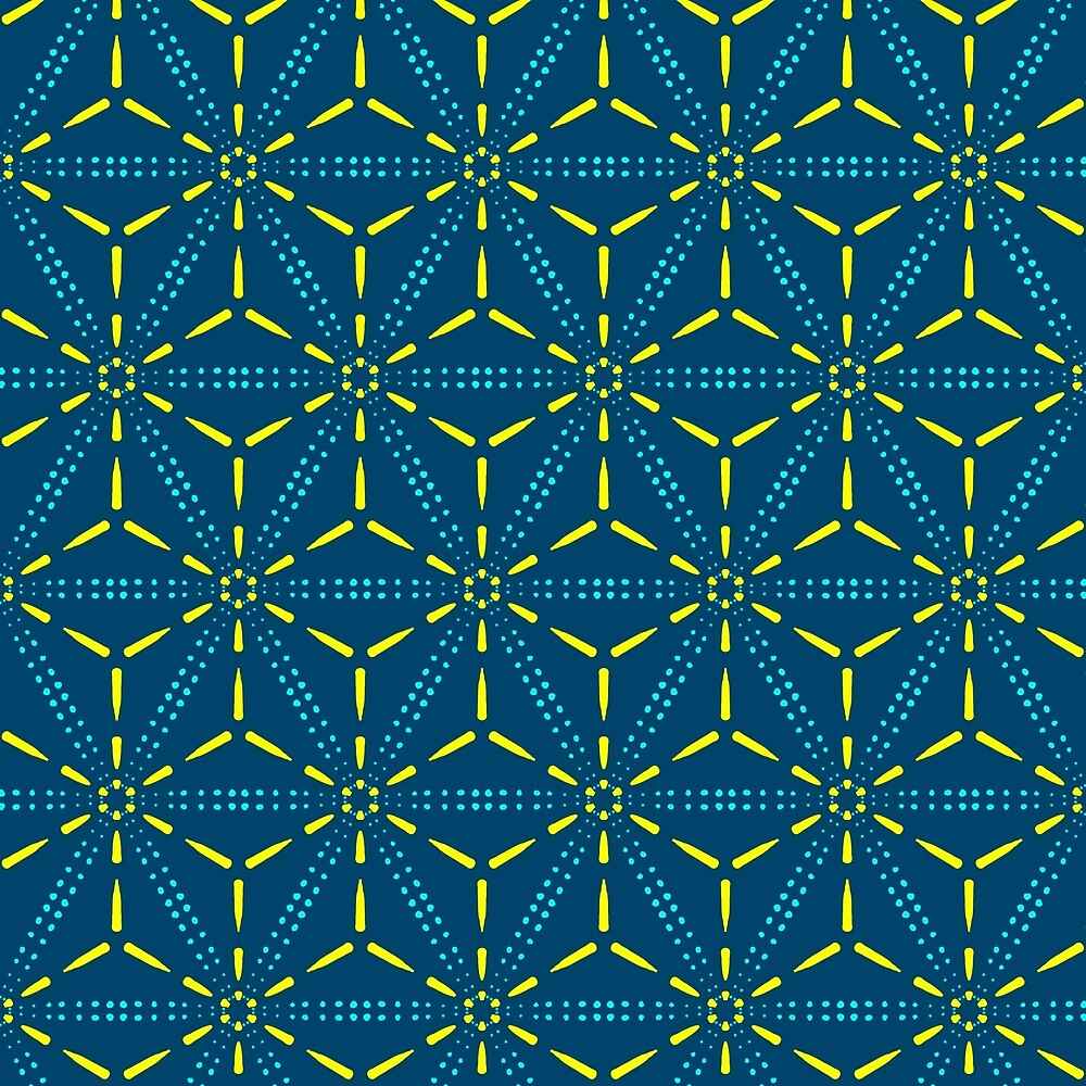 Blue Stars Over Head Geometric Pattern by Patrice Anderson