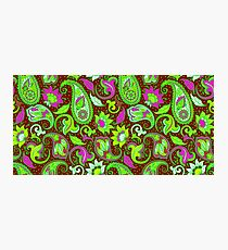 Pink Green Vintage Floral Paisley Pattern Photographic Print