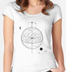 Alchemy symbol with eye, moon, sun  Women's Fitted Scoop T-Shirt