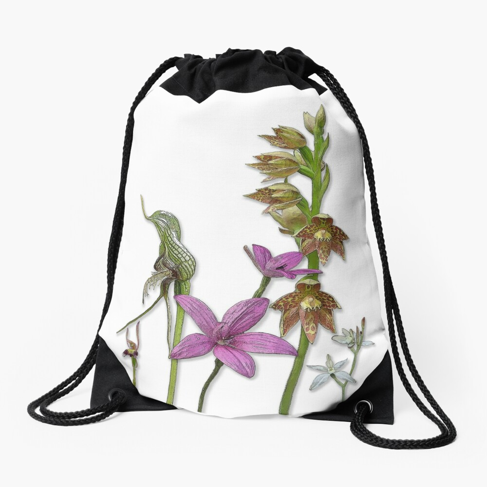 Orchids of Australia 3 native orchids of Western Australia Drawstring Bag
