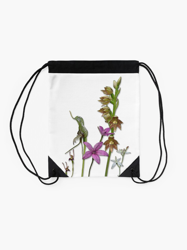 Alternate view of Orchids of Australia 3 native orchids of Western Australia Drawstring Bag