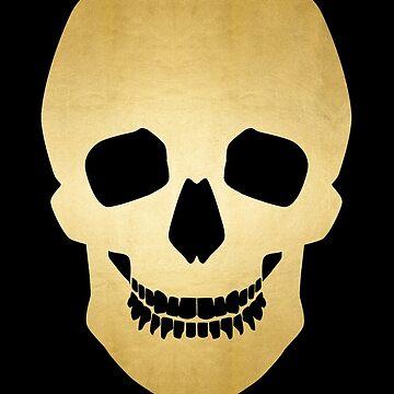 Gold skull on black by merrywrath