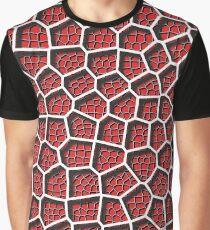 Voronoi Diagram - Layered Red Graphic T-Shirt