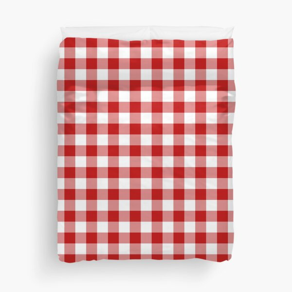 Classic Red and White Gingham Checked Pattern Duvet Cover