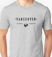 Vancouver geographic coordinates T-Shirt